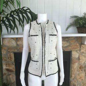 Rachel Zoe White Black Dotted Sequin Vest Sz XXS